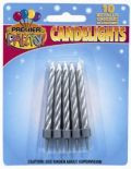 Pkt of 10 Metallic Silver Candles with Holders