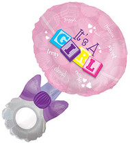 "Baby Girl ""Rattle"" - 36"" Flat Shape"