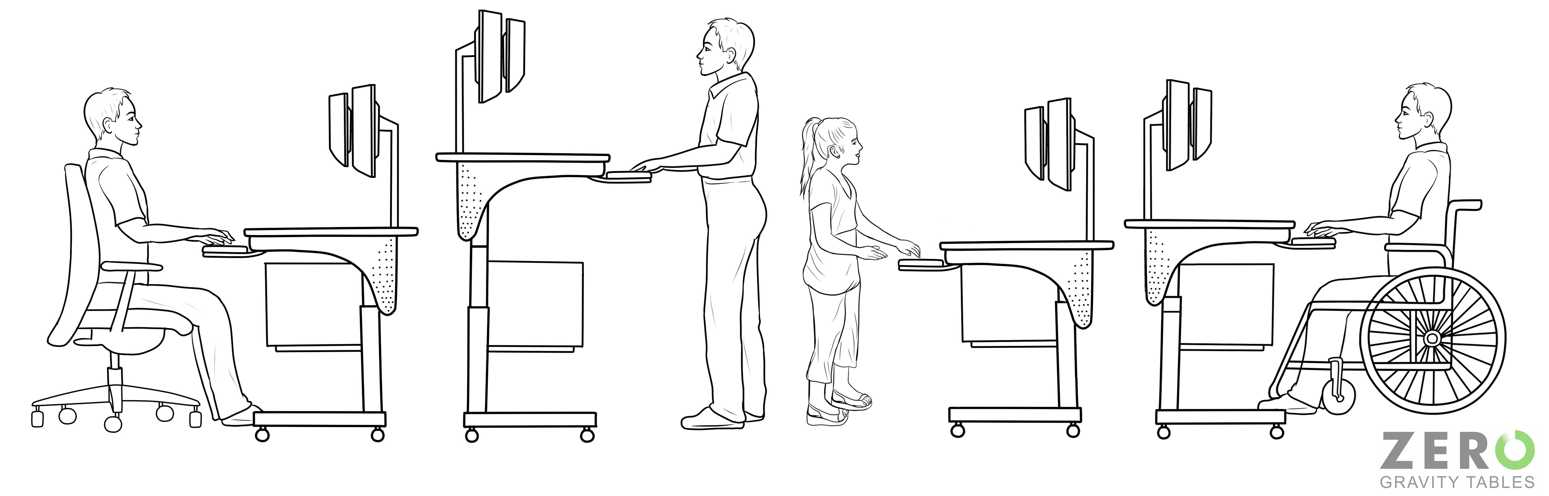 Wheelchair accessible desks for wheelchairs ada compatible for Chair design criteria
