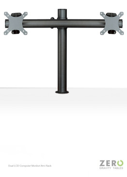 "Easily mounted onto any single standard Zero Gravity Tables surface grommet hole, this dual monitor solution is fitted with Universal VESA brackets and supports all monitors up to 24"". In addition to its ergonomic design and fatigue-reducing benefits, this monitor mount also aids in creating a clean, uncluttered workspace by providing easy cable management and lifting the monitors off of the desktop, increasing space."