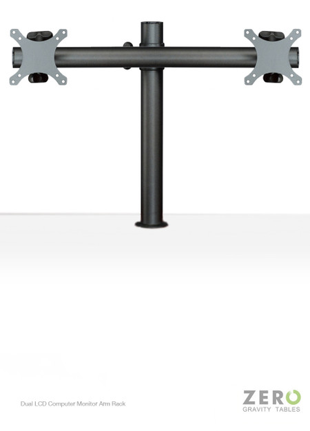 "Easily mounted onto any single standard Zero Gravity Tables surface grommet hole, this dual monitor solution is fitted with Universal VESA brackets and supports all monitors up to 24"". In addition to its ergonomic design and fatigue-reducing benefits, this monitor mount also aids in creating a clean, uncluttered workspace by providing easy cable management and lifting the monitors off of the desktop, increasing space."