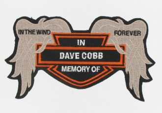 """This is a front view of the Broken Wings Patch.  This patch is great for remembering departed friends and says """"In the wind forever.""""  We put their name in the center."""