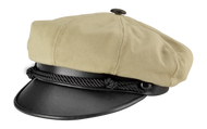 This is a front side view of the Marlon Brando hat.  It comes in tan, black, and all black.  This Marlon Brando hat is based off of the one that he wore in the movie, The Wild One.