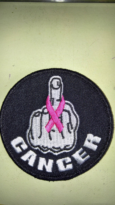 Middle finger with pick cancer ribbon