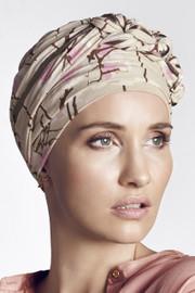 Christine Headwear - Azure Printed Turban Magnolia Beige (0436)