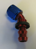 Fitting, Andrews Motorsports, Legends Race Car, XRP Twist-Tite 8AN x 45 Degree Hose End Red