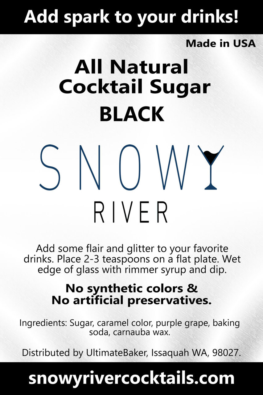 Snowy River Cocktail Sugar Black (1x8oz)