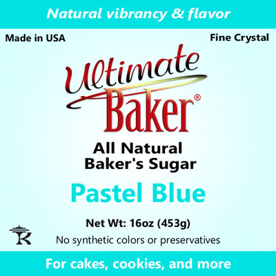 Ultimate Baker Natural Sanding Sugar (Fine Crystal) Pastel Blue (1x1lb)