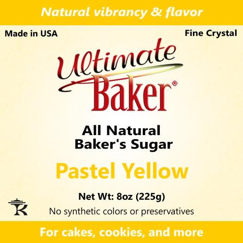 Ultimate Baker Natural Sanding Sugar (Fine Crystals) Pastel Yellow (1x8oz)