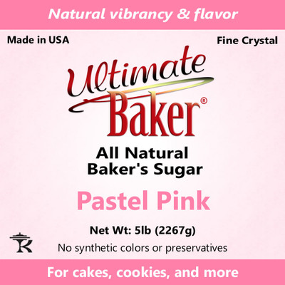 Ultimate Baker Natural Sanding Sugar (Fine Crystals) Pastel Pink (1x5lb)