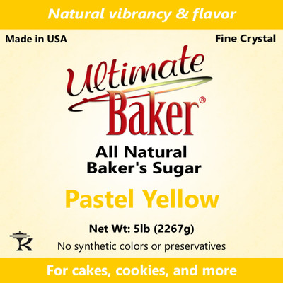 Ultimate Baker Natural Sanding Sugar (Fine Crystals) Pastel Yellow (1x5lb)