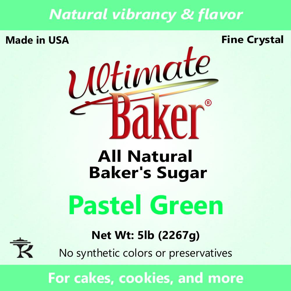 Ultimate Baker Natural Sanding Sugar (Fine Crystals) Pastel Green (1x5lb)