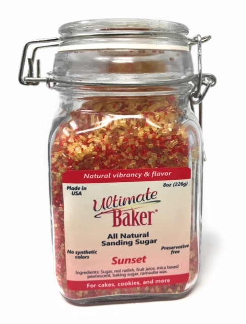 Ultimate Baker Natural Sanding Sugar Sunset Sparkle (1x8oz Glass)