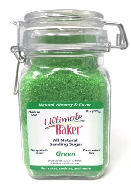 Ultimate Baker Natural Sanding Sugar (Large Crystals) Green Shine (1x8oz Glass)