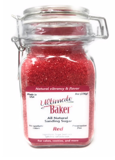 Ultimate Baker Natural Sanding Sugar (Large Crystals) Red Shine (1x8oz Glass)