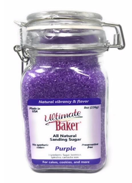 Ultimate Baker Natural Sanding Sugar (Med. Crystal) Purple(1x8oz Glass)