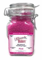 Ultimate Baker Natural Sanding Sugar (Med. Crystals) Pink (1x8oz Glass)