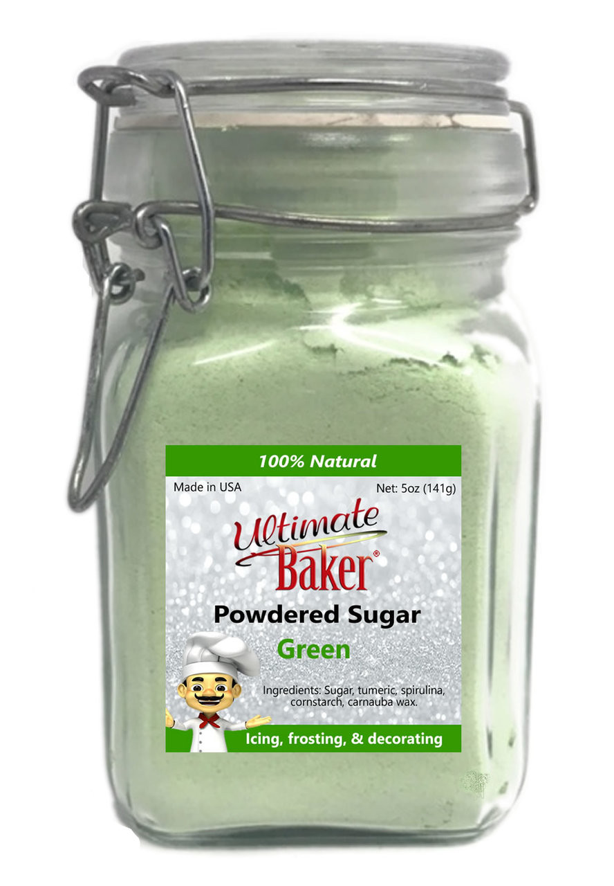 Ultimate Baker Natural Powdered Sugar Green (1x5oz Glass)