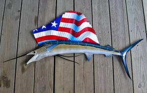 USA Flag Sailfish 57 inch CUSTOM half mount fiberglass fish replica