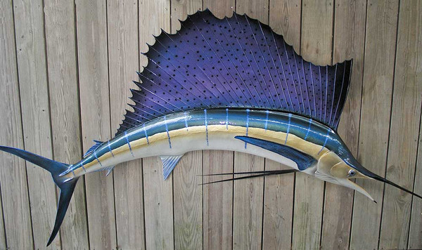 sailfish 110 inch half mount fiberglass fish replica the fish