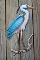 Blue Heron fiberglass bird replica