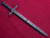 Alabama Damascus Sword Mini Blank / ADS-Mini Sword-DKB
