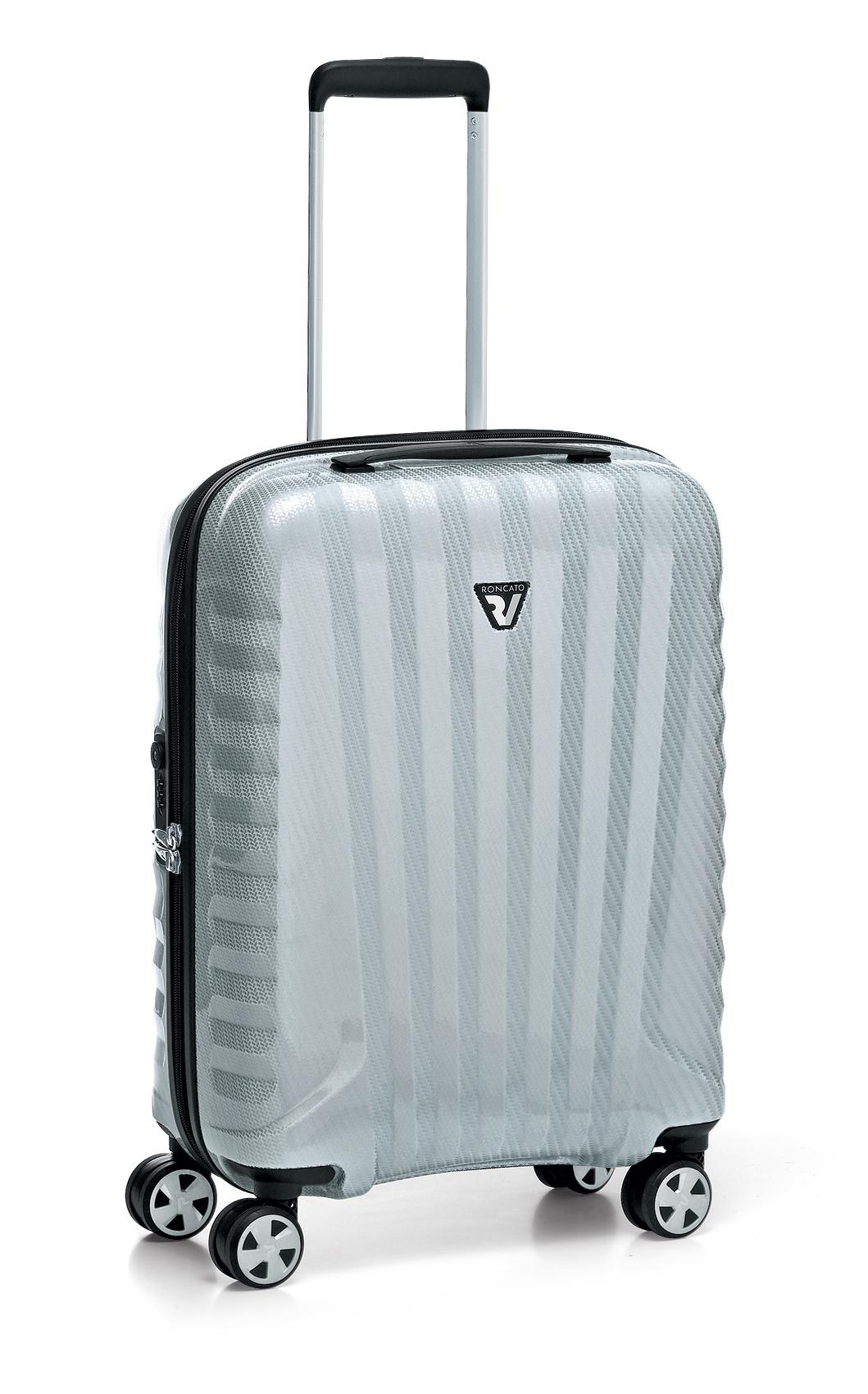 Roncato Italian Designer Premium Carbon 4 Wheel Cabin Bag - Silver