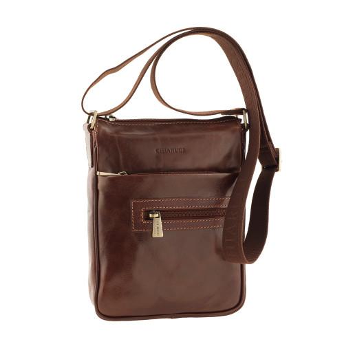 Chiarugi Small Leather Messenger - Brown