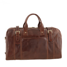 Chiarugi Italian Leather Holdall Travel Bag - Brown