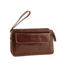 Chiarugi Italian Designer Leather Zip Man Bag - Brown