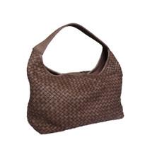 Paolo Masi Hand Woven Washed Italian Leather Hobo Bucket Bag Brown