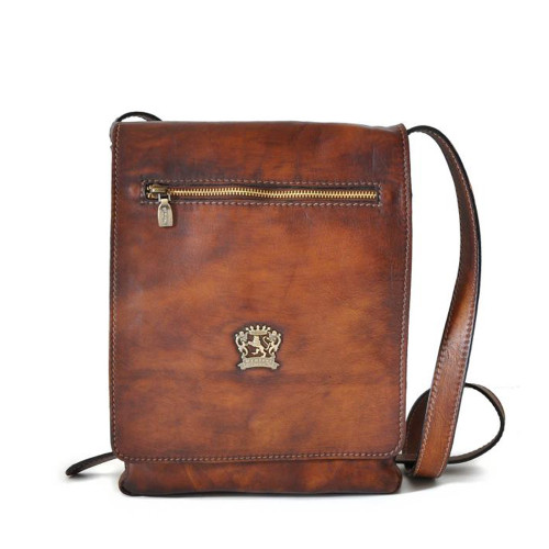 Pratesi Italian Prato Aged Leather Cross Body Messenger - Brown