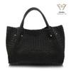 Luxury Ghibli Hand Woven Italian Leather Tote Bag - Black
