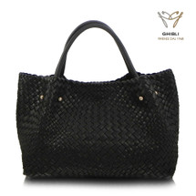 Luxury Ghibli Hand Woven Italian Leather Tote Bag - Black