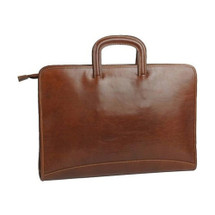 Chiarugi Italian Leather Slim Laptop Document Bag - Brown