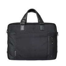 Roncato Nylon and Leather Zip Top Laptop Briefcase - Black