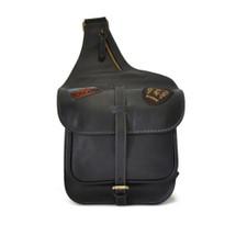 Pratesi Italian Small Leather Cross Body Saddle Style Bag - Black