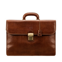 MSB Certaldo 3 Italian Leather Flap Over Briefcase - Tan
