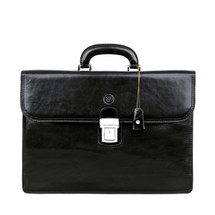 MSB Certaldo 2 Italian Leather Flap Over Briefcase - Black