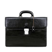 MSB Certaldo 2 Italian Leather Flap Over Briefcase - Black
