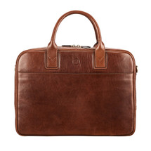 MSB Empoli Leather Laptop Briefcase Bag - Tan