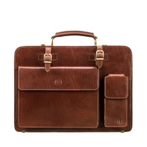 MSB Cartana Large Leather Pocket Briefcase Bag - Tan