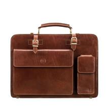 MSB Cartana Large Leather Pocket Briefcase Bag - Tan