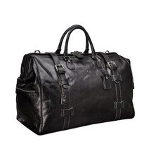 MSB Sorano Italian Leather Large Gladstone Holdall - Black