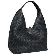 Paolo Masi Cara Woven Washed Italian Large Leather Hobo Bucket Bag - Black