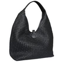 Paolo Masi Cara Woven Washed Italian Large Leather Hobo Bucket Bag - Black