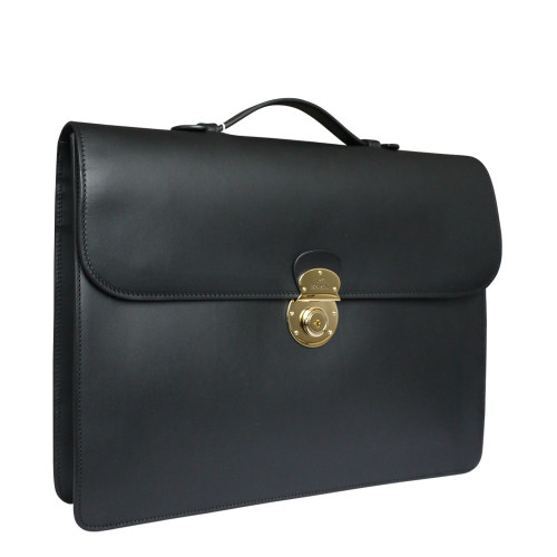 Boldrini Italian Leather Flap Over Slim Briefcase - Black