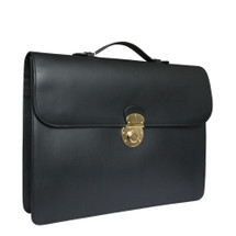 Boldrini Italian Leather Flap Over Slim Briefcase - Black