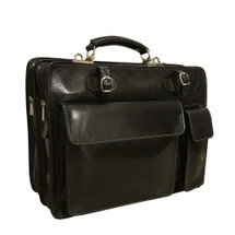 Chiarugi Top Zip Italian Medium Leather Briefcase - Black