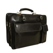 Chiarugi Top Zip Italian Medium Leather Briefcase - Black